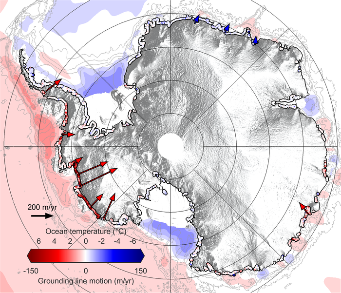 Abbildung der Abschmelzung des Eises in der Antarktis