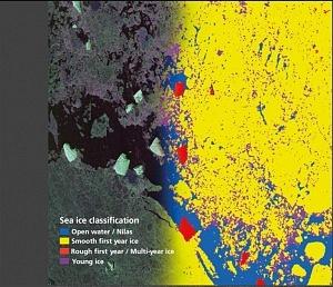 Satellitenbild der Arktis mit Hervorhebung verschiedener Eisarten