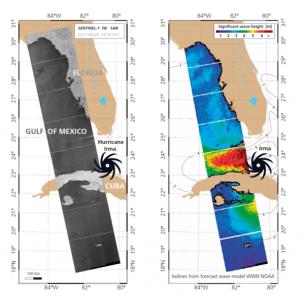 Kartenausschnitt vom Golf von Mexiko mit der Darstellung von Windverhältnissen