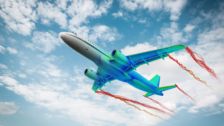 Hervorhebung der Wirbelströmung beim Flugzeug