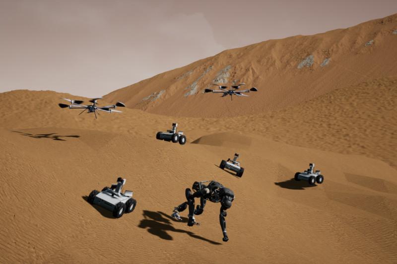 Eine Wüstenlandschaft, befahren von robotischen Systemen