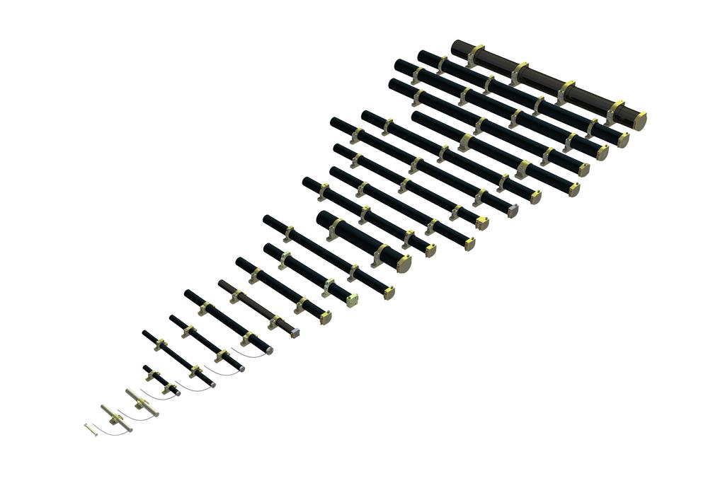 Mehrere Magnetstifte nach Größe geordnet