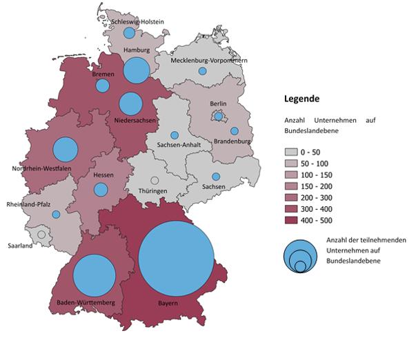 Karte der deutschen Bundesländer; verzeichnet ist die Anzahl der teilnehmenden Unternehmen