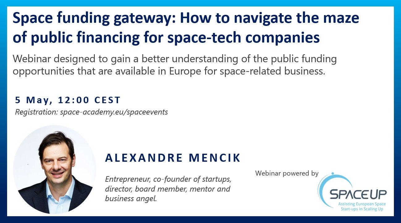 Webinar - Space funding gateway: how to navigate the maze of public financing for space-tech companies