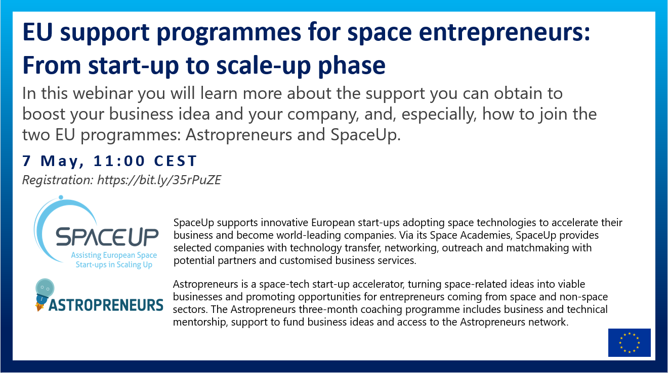 Webinar - How to start-up and scale-up your business: EU support programmes for space-tech entrepreneurs