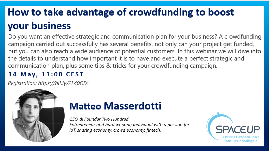 """SpaceUp Webinar """"How to take advantage of crowdfunding to boost your business"""""""