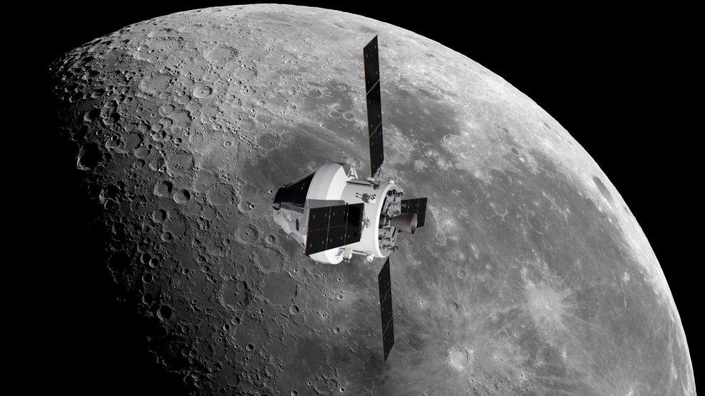 Ein Satellit im Weltall