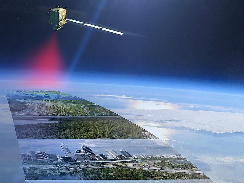 Darstellung eines Satelliten, der unter sich Abbildungen von Luftbildern hat