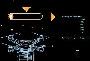 Technische Zeichnung einer Drohne