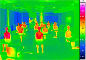 Abbildung eines Wärmebildes: einige Menschen sitzen in einem Raum