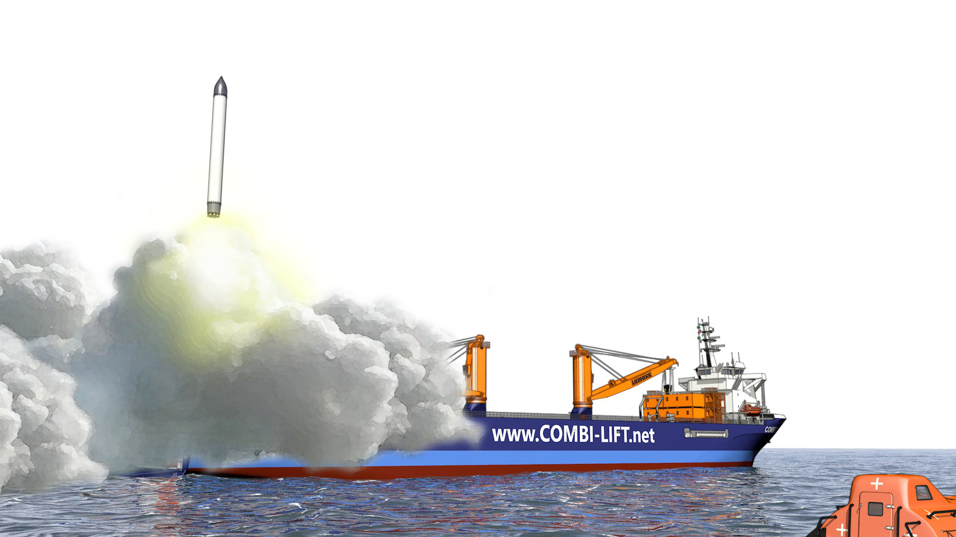 Zeichnung eines Offshore Spaceports
