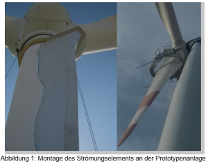 Abbildung von zwei Windrädern von unten gesehen