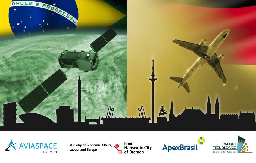 Eine Collage aus Elementen der Luft- und Raumfahrt, Bremen und Brasilien.