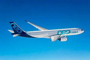 Flugzeug Marke Airbus in der Luft