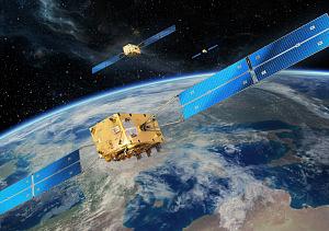 Künstlerische Darstellung eines Galileo Satelliten