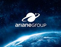 Das Logo der ArianeGroup; im Hintergrund das Weltall mit Blick zur Erde
